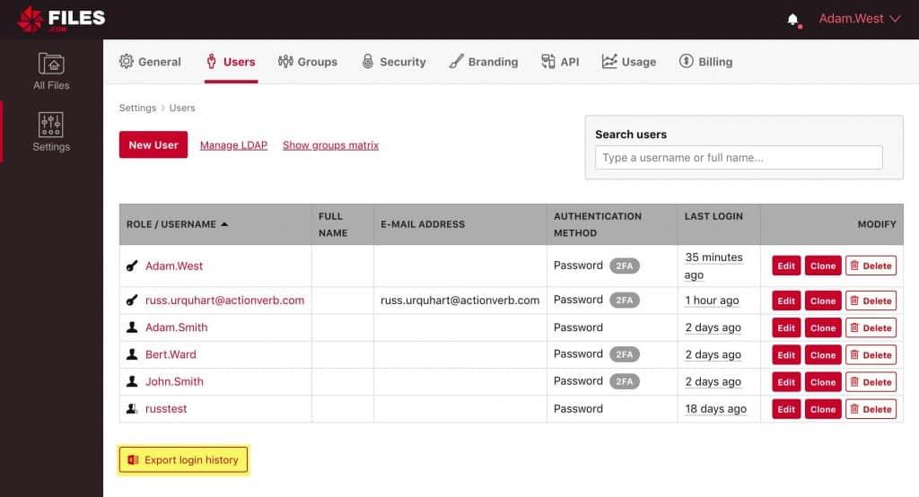 Files.com Dashboard User Settings