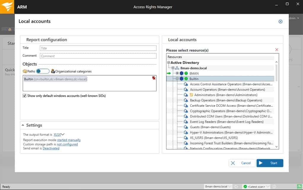 SolarWinds Access Rights Manager Local Accounts