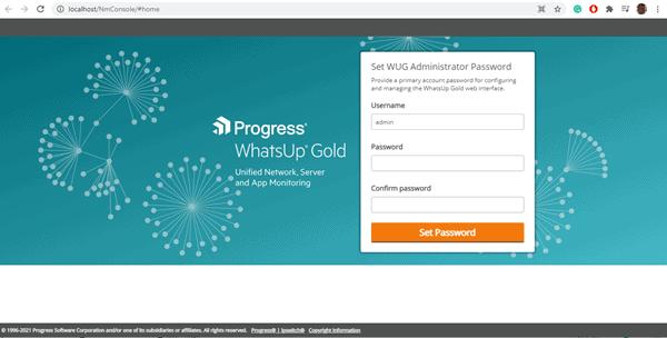 WhatsUp Gold Setup Email Screen