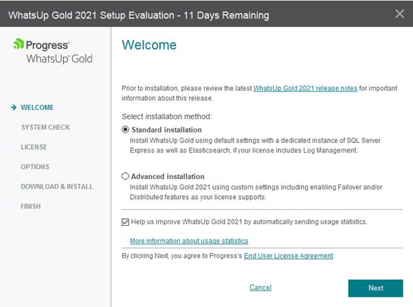 WhatsUp Gold Setup Evaluation Welcome Screen