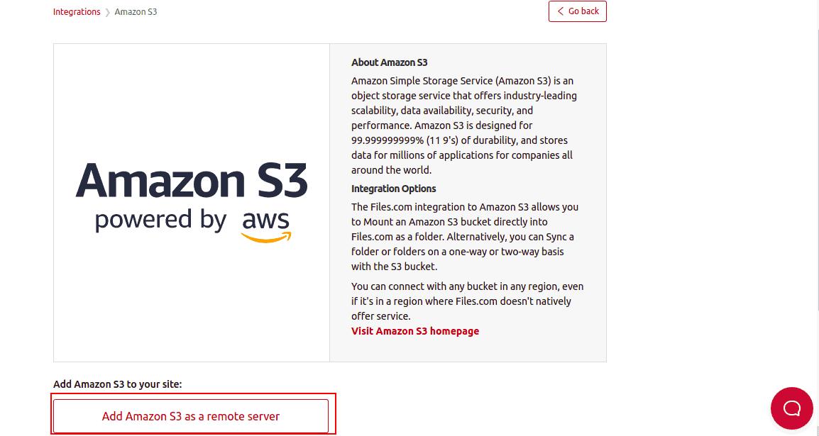 add aws s3 to files.com