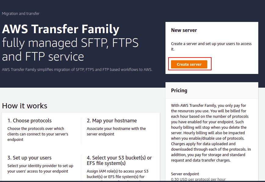 create sftp server