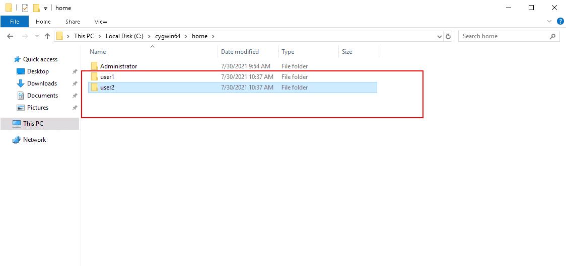 cygwin create user directory
