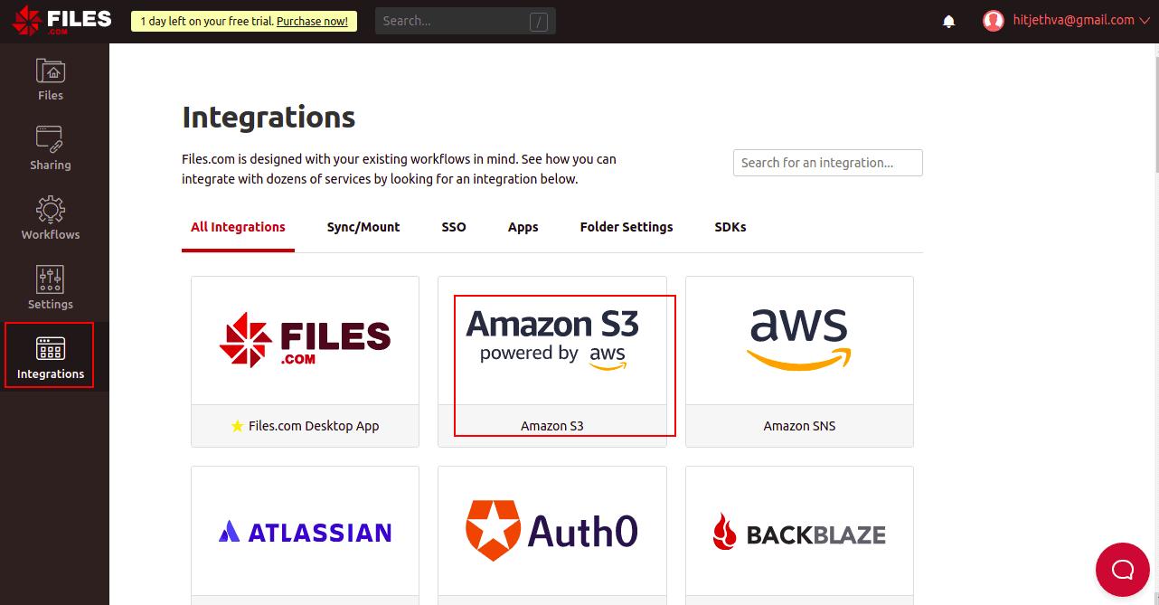 files.com dashboard