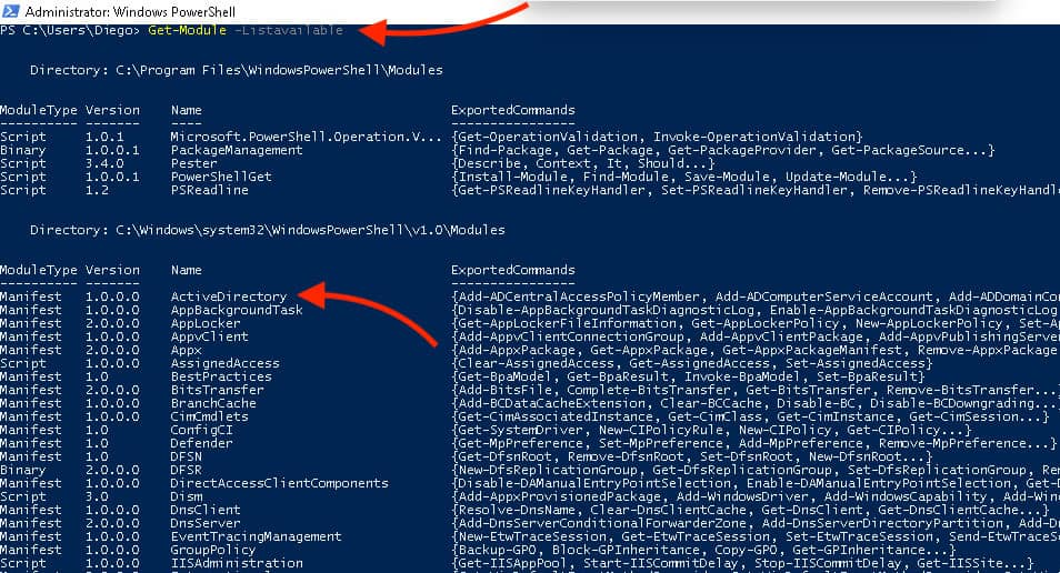Verify the PowerShell Active Directory module is installed