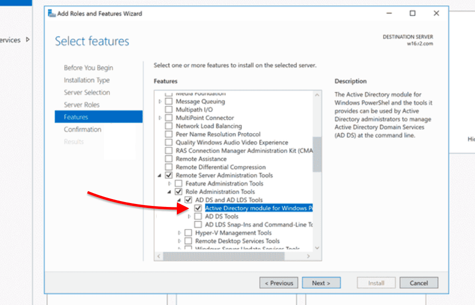 Install the PowerShell Active Directory module