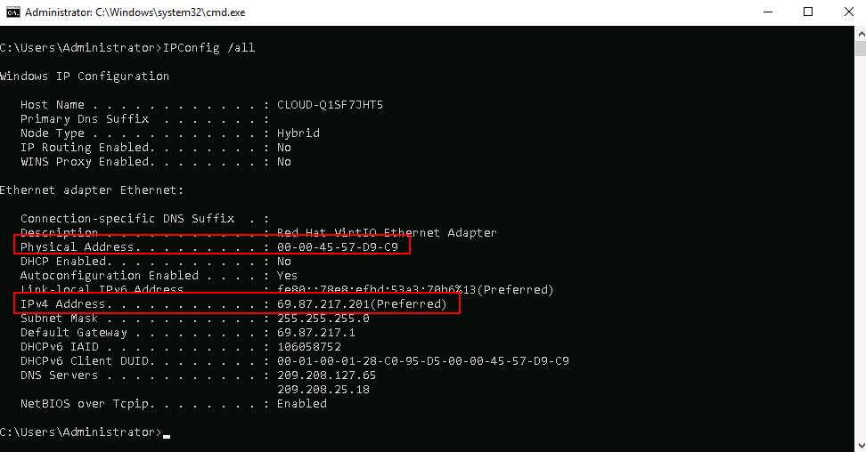 ipconfig command