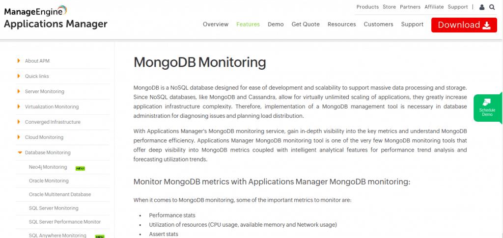 ManageEngine mongodb monitoring