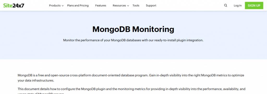 site24x7 mongodb monitoring