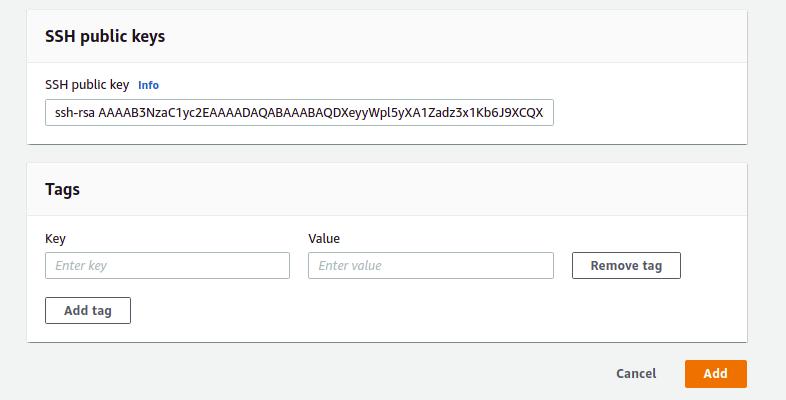 provide SSH key