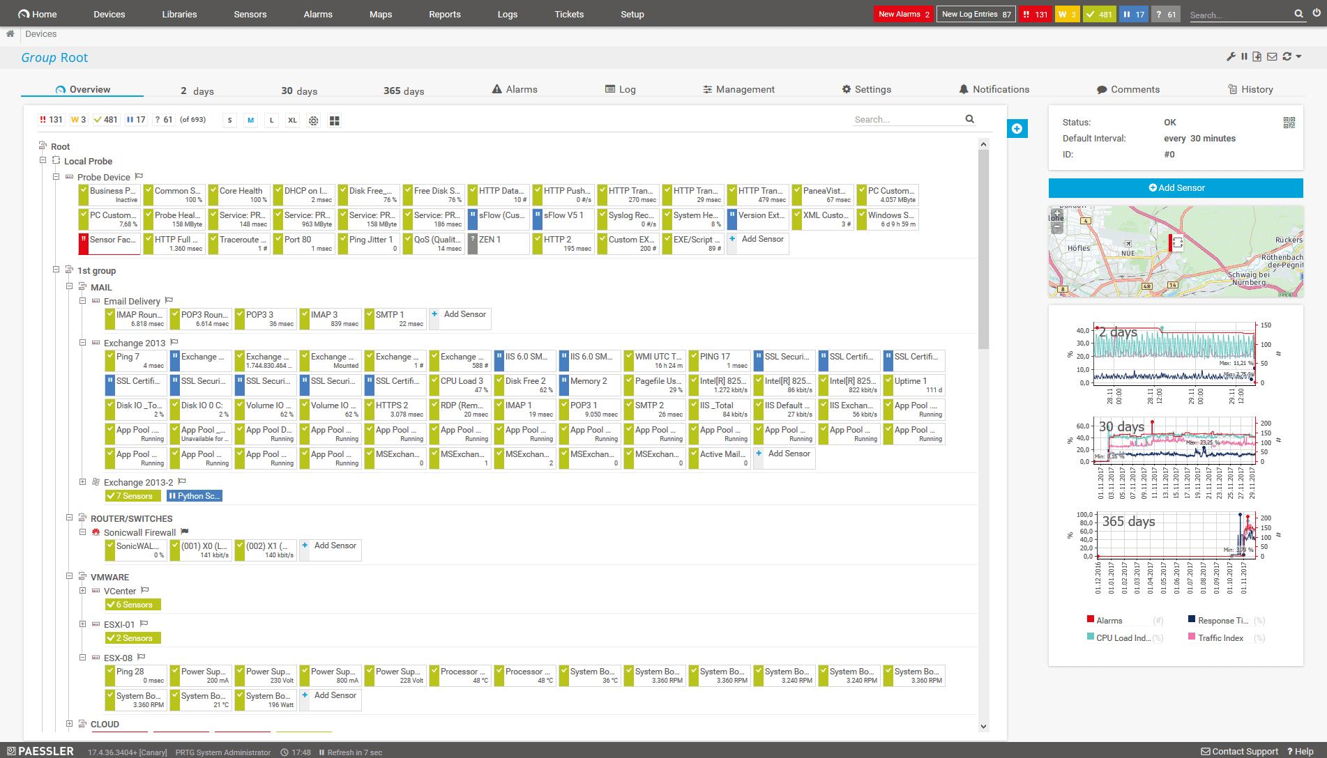prtg dashboard screenshot