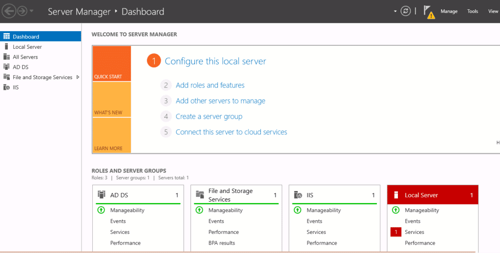 server manager notification