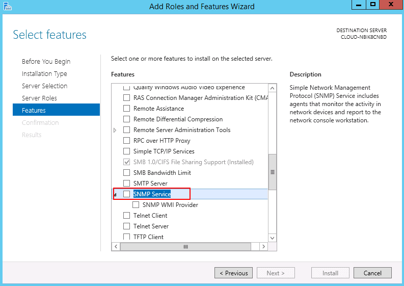select snmp features