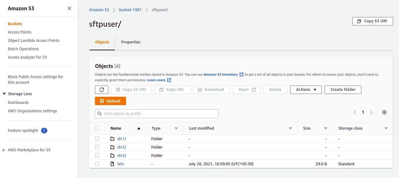 verify new folder on aws s3